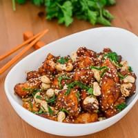a bowl of crock pot cashew chicken