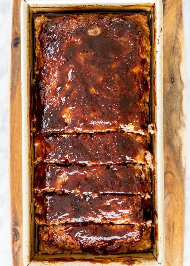 overhead shot of meatloaf in a loaf pan