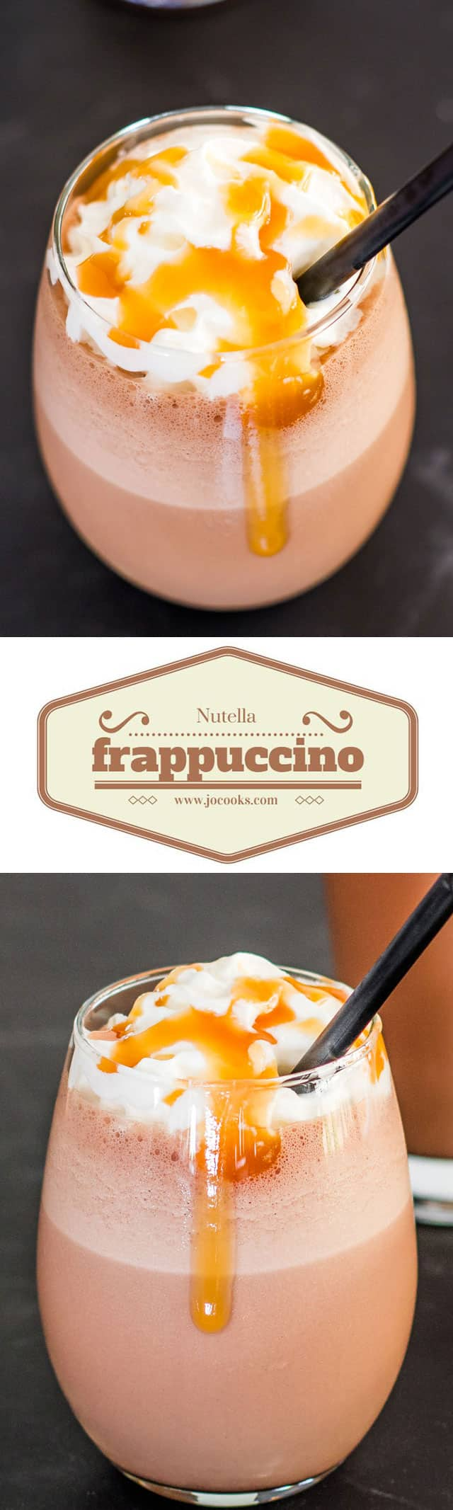 Homemade Nutella Frappuccino topped with whipped cream and caramel sauce collage
