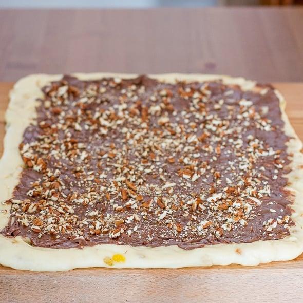 Process shot of making Nutella Raisin Bread