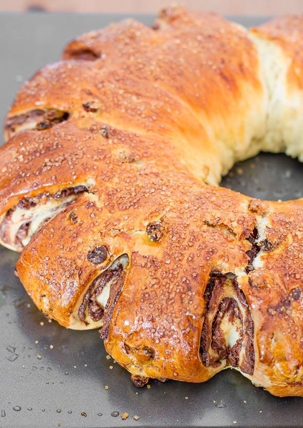 Close up shot of Nutella Raisin Bread
