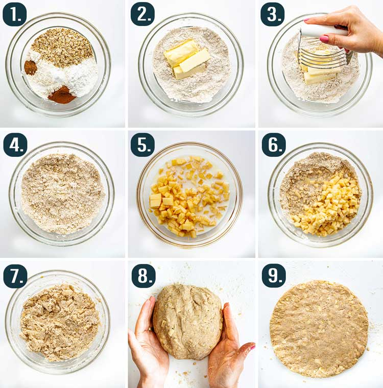 detailed process shots showing how to make dough for apple scones