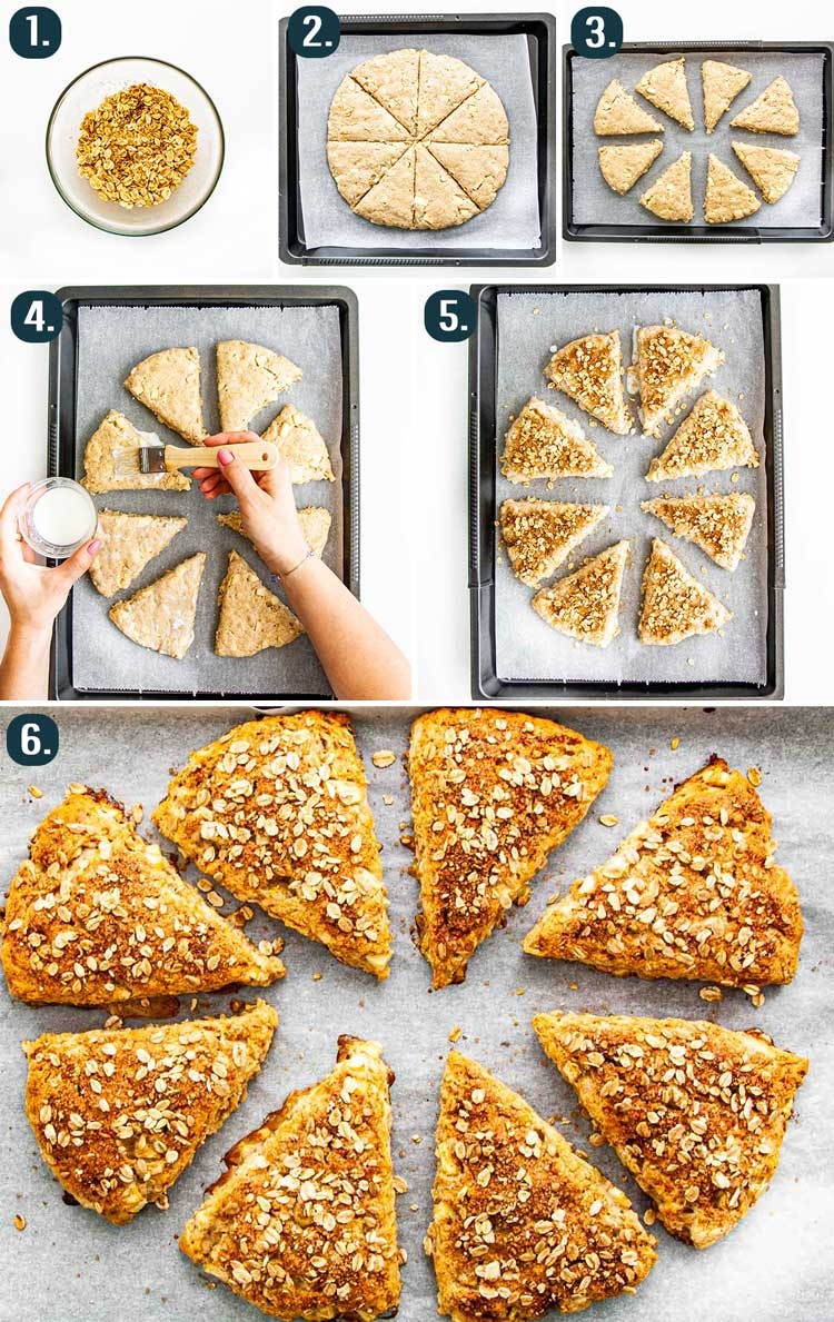 detailed process shots showing how to cut/shape apple scones and bake them