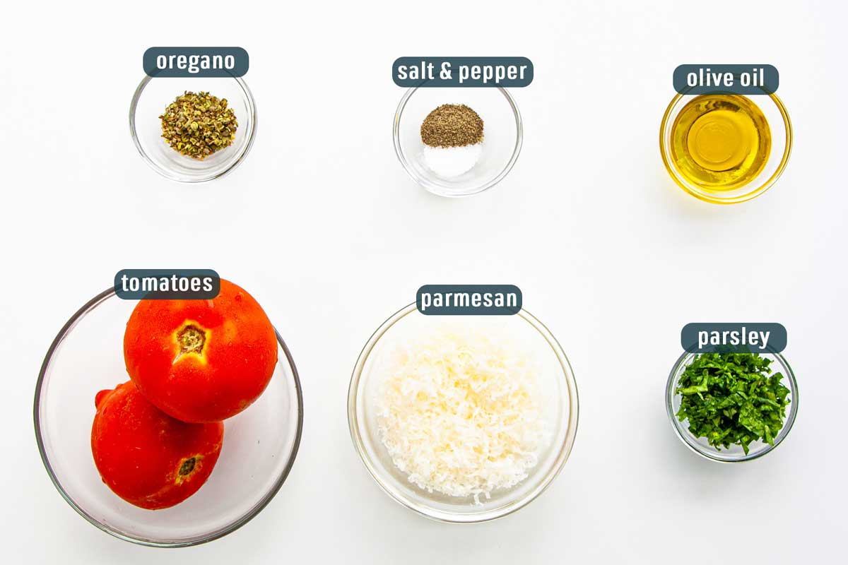 overhead shot of all ingredients needed to make baked parmesan tomatoes