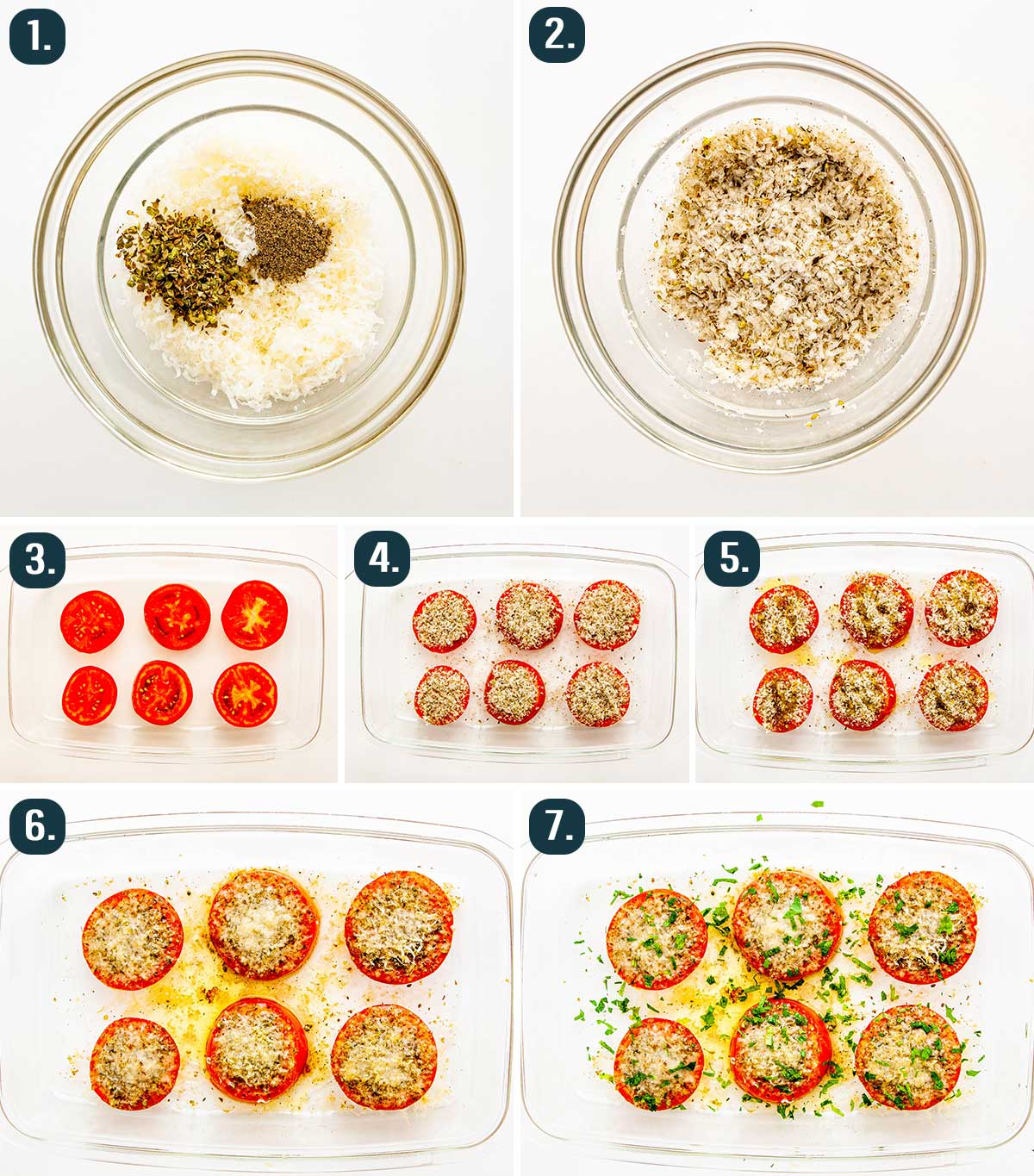 detailed process shots showing how to bake parmesan tomato slices
