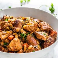side view of a bowl full of french cassoulet