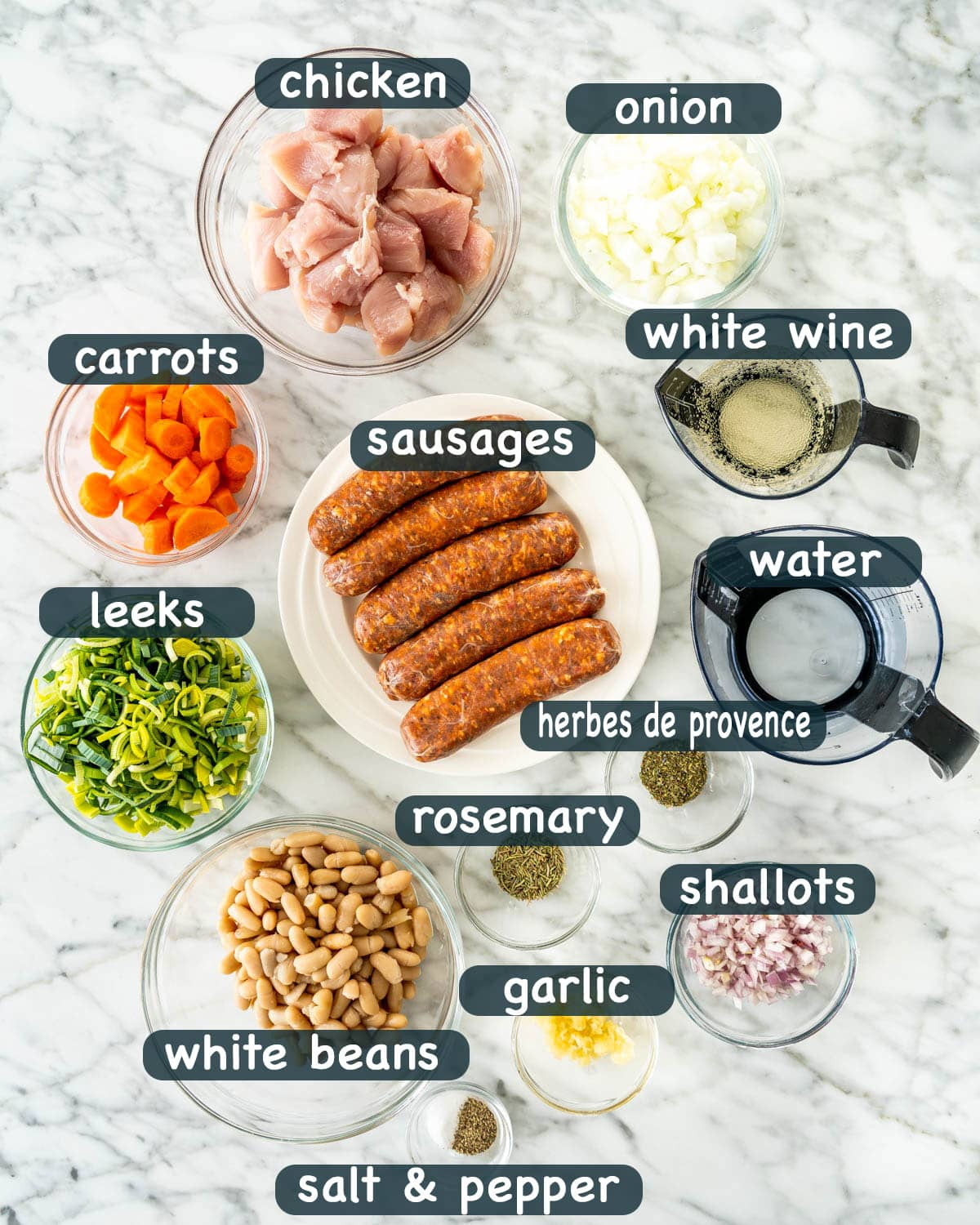 overhead shot of all the ingredients needed to make french cassoulet