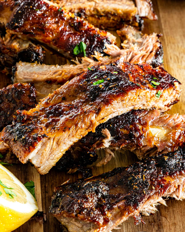 closeup shot of honey glazed pork ribs cut into pieces