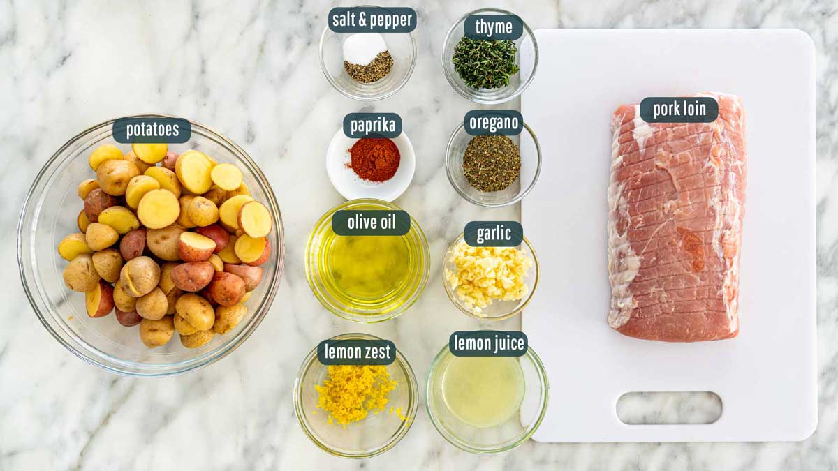 overhead shot of ingredients needed to make lemon garlic pork roast