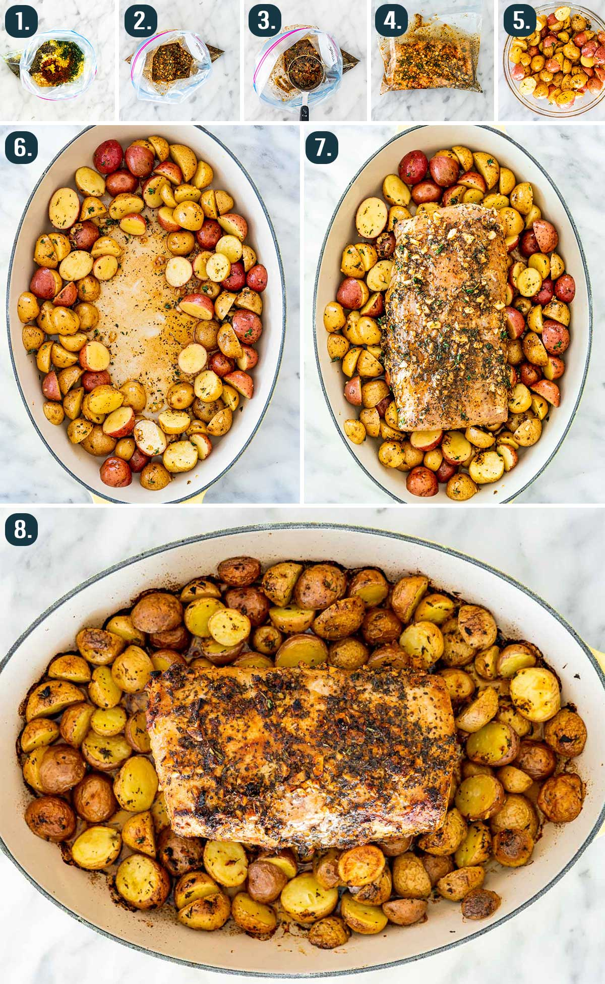 process shots showing how to make lemon garlic pork roast