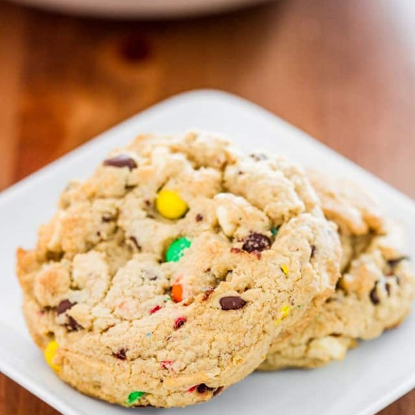 m&m chocolate chip cookies on a plate