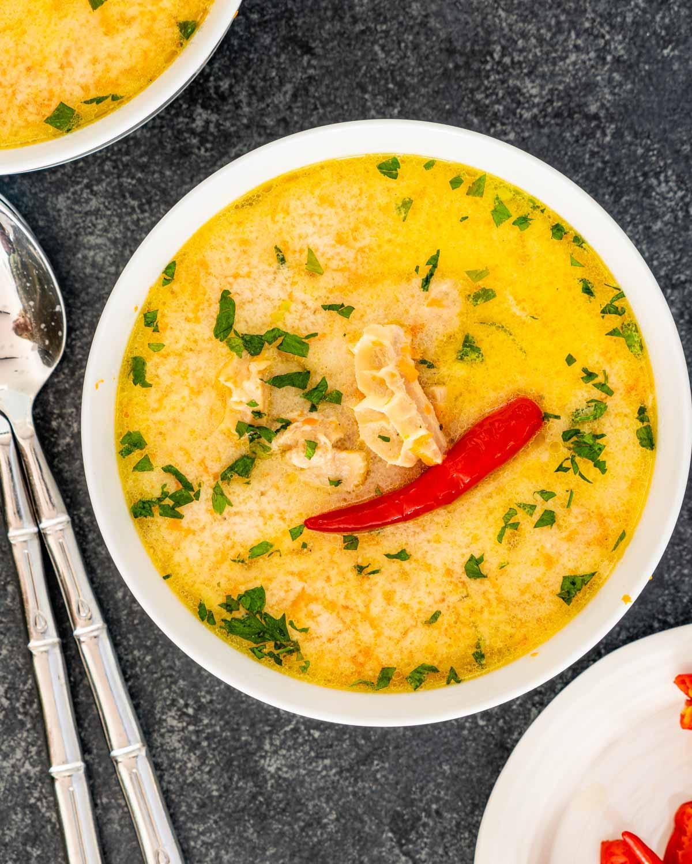 tripe soup in a white bowl.