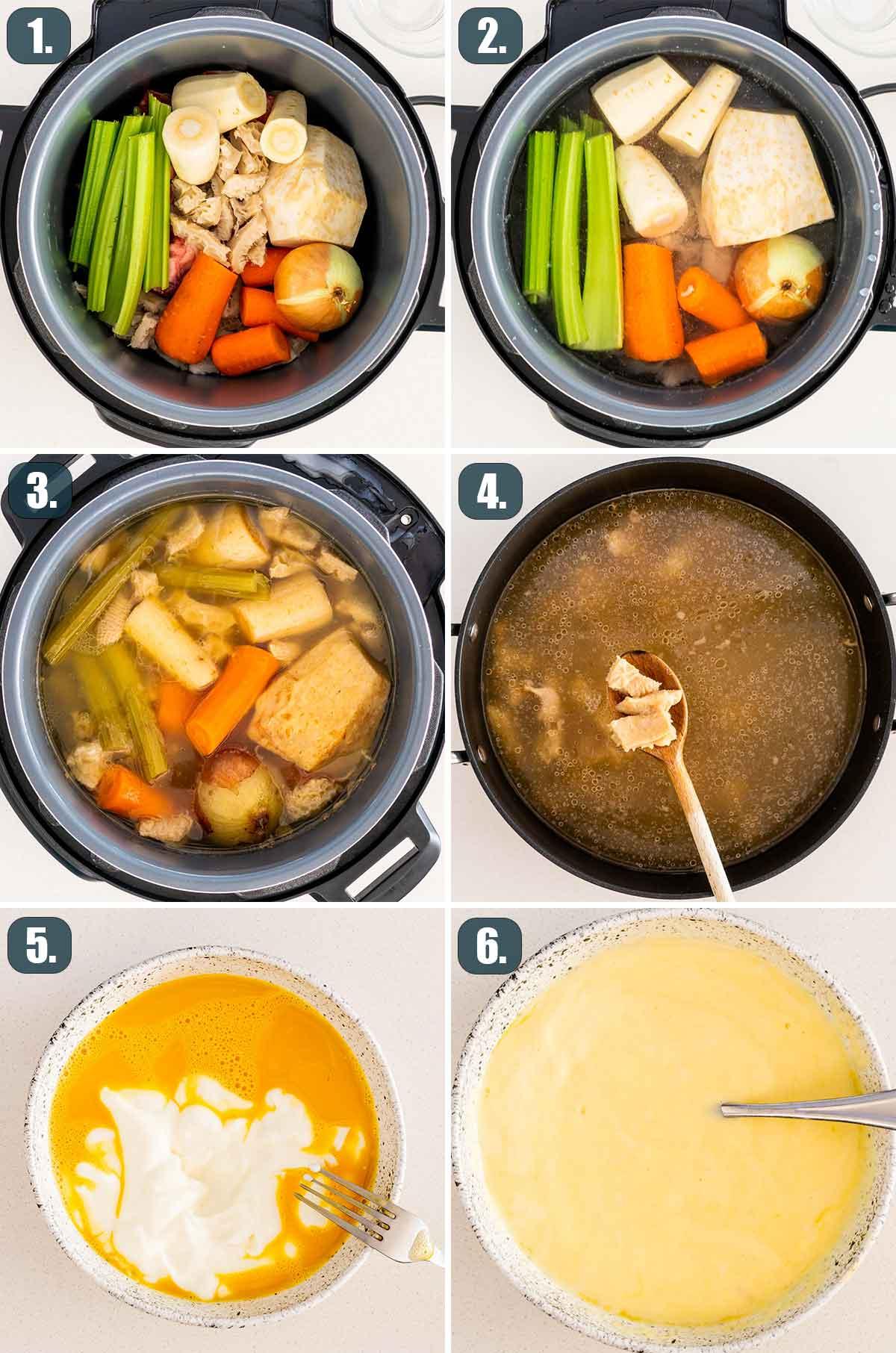 process shots showing how to make tripe soup.