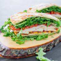 bacon chicken and arugula sandwiches