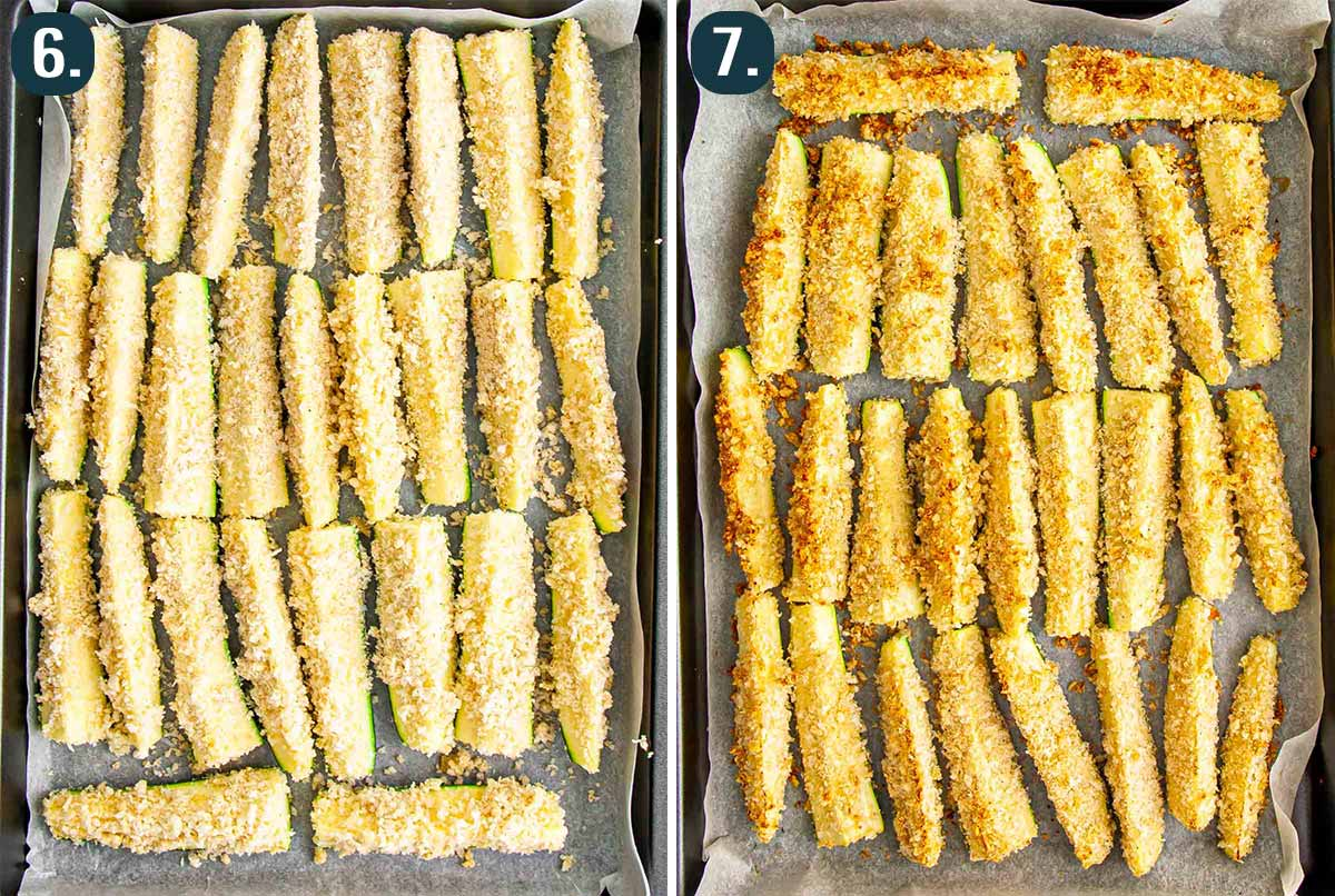 breaded zucchini sticks on baking sheets before and after baking.