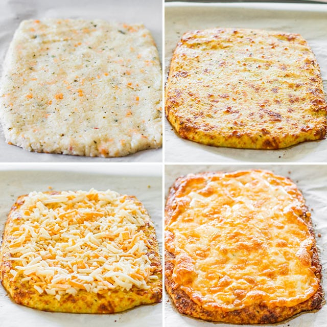 Cheesy Cauliflower Breadsticks process shots of the crust