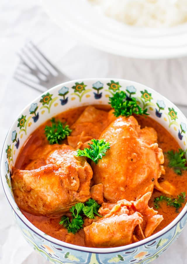 Crockpot Thai Chicken Thighs - delicious chicken thighs in a creamy, silky and smooth Thai flavored sauce, slowly cooked to perfection.