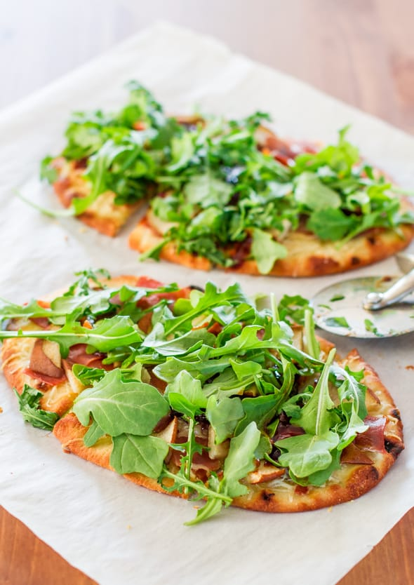 Close up of Pear Prosciutto and Arugula Flatbreads