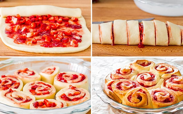 process shots of making strawberry rolls