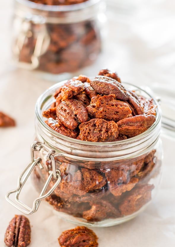 Brown Sugar Coated Pecans - delicious and easy snack, pecans coated in a mixture of brown sugar and white sugar with egg whites and baked to perfection.