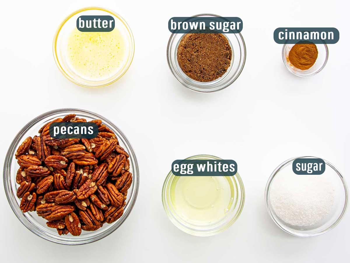 overhead shot of all ingredients needed to make sugar pecans.
