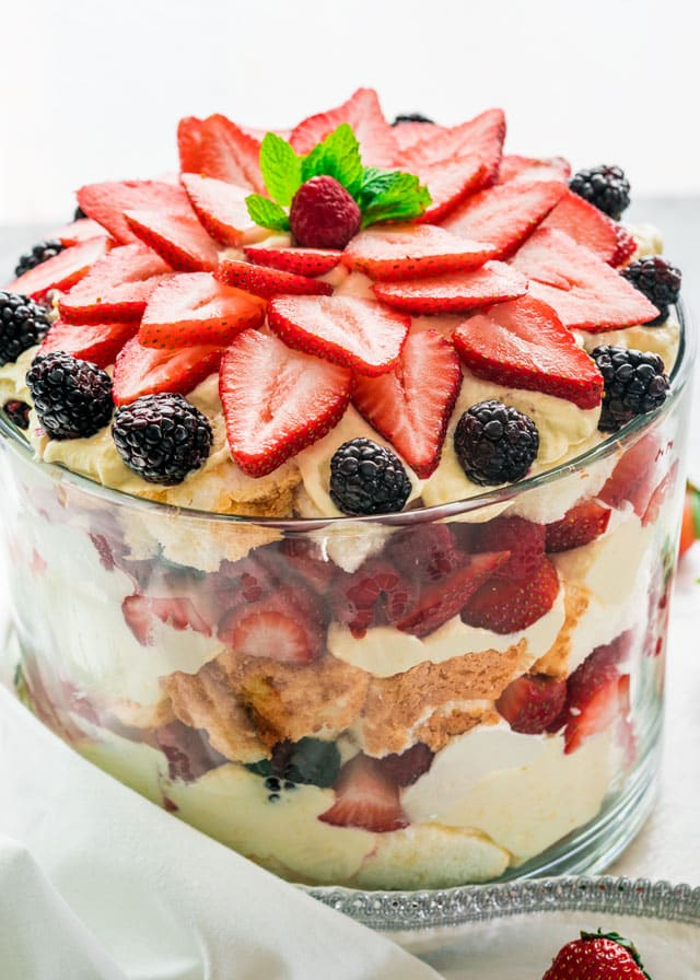 Angel Berry Trifle in a trifle bowl