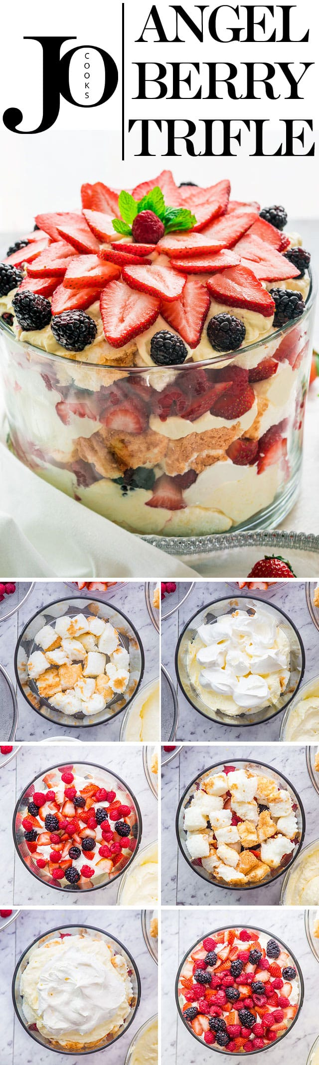 An Angel Berry Trifle that's perfect for Easter brunch made with fresh berries, angel food cake and an out of this world vanilla pudding and cream cheese custard. #trifle #easterbrunch