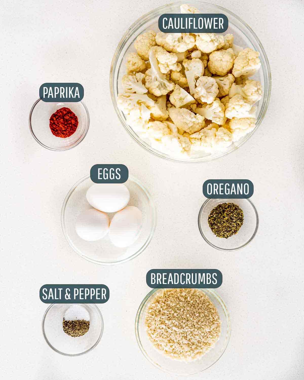 overhead shot of ingredients needed to make breaded cauliflower.