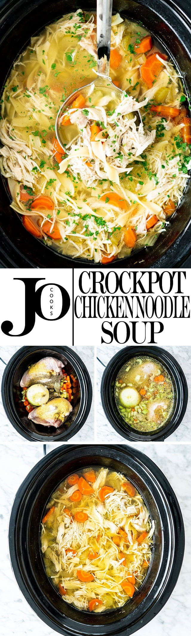 This crockpot chicken noodle soup is a classic and hearty soup, requiring minimal effort giving you tender chicken, loads of noodles and a delicious broth. #crockpotchickennoodlesoup #chickennoodlesoup