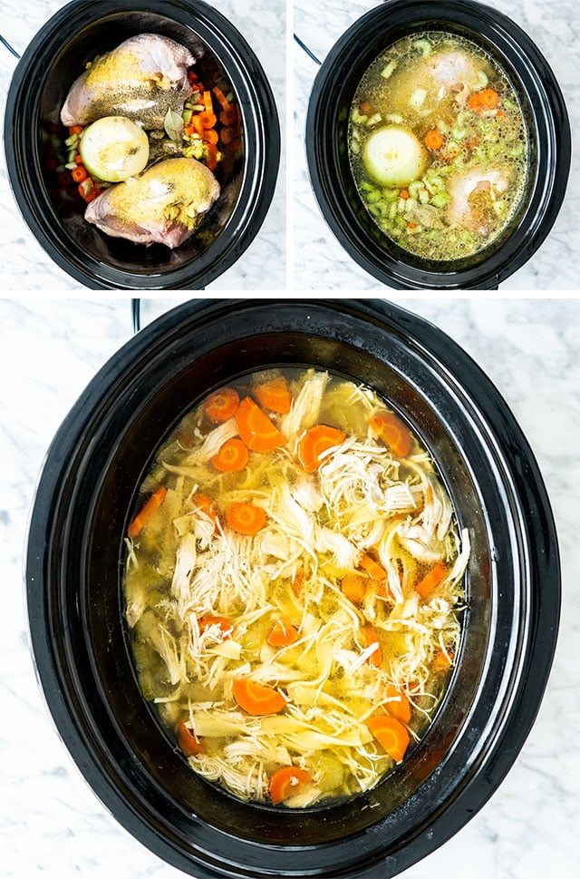 Crockpot Chicken Noodle Soup process shots