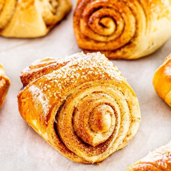 close up shot of finnish cardamom rolls