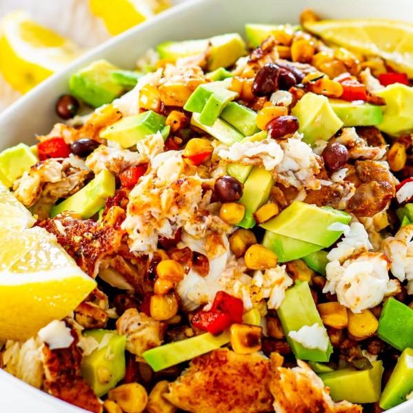 Close up shot of a spicy fish taco bowl