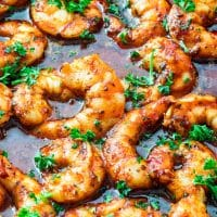 close up shot of spicy new orleans shrimp