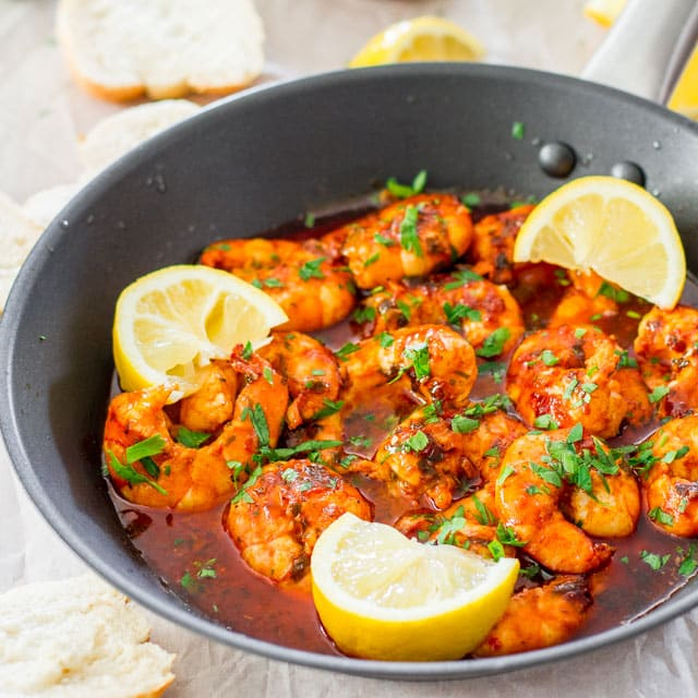 Spicy New Orleans Shrimp - hot, spicy, decadent and super delicious New Orleans style shrimp!