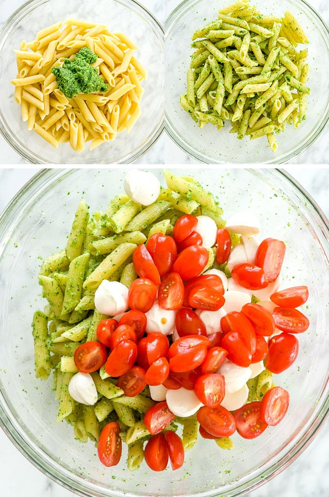 process shots for making Chicken Pesto Caprese Pasta