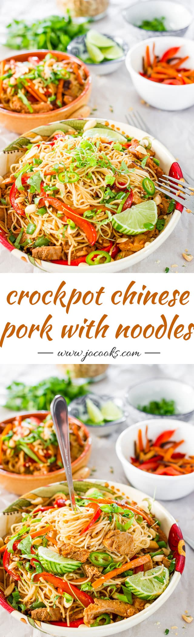 Crockpot Chinese Pork with Noodles - Slow cooked Chinese style pork tenderloin tossed with noodles and veggies. These noodles are bound to please the entire family! #crockpotrecipes #crockpotpork
