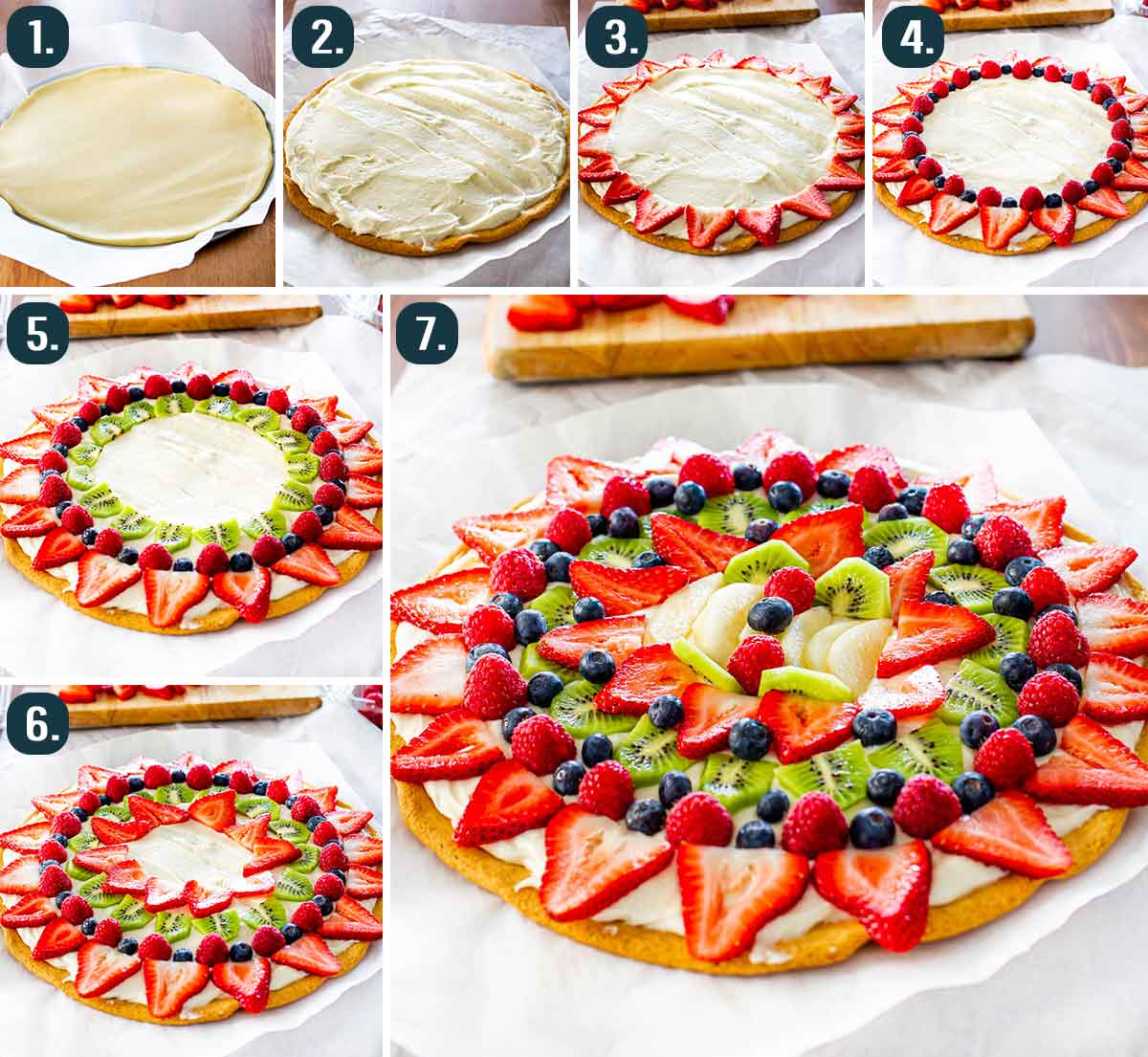 process shots showing how to make fruit pizza