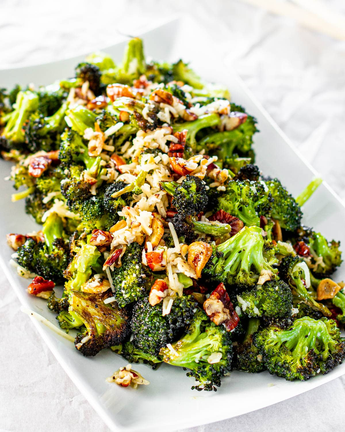 Parmesan Roasted Broccoli on a white serving platter