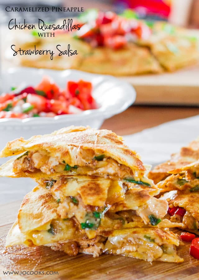 Caramelized Pineapple Chicken Quesadillas with Strawberry Salsa - perfect summertime eats! These quesadillas are loaded with flavors and make for a super simple meal!