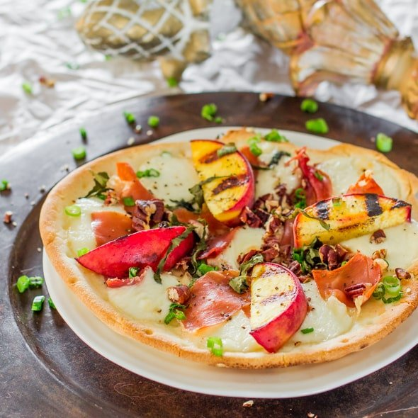 Grilled Peach and Prosciutto Flatbread