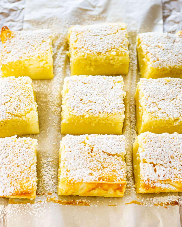 lemon magic cake cut into squares