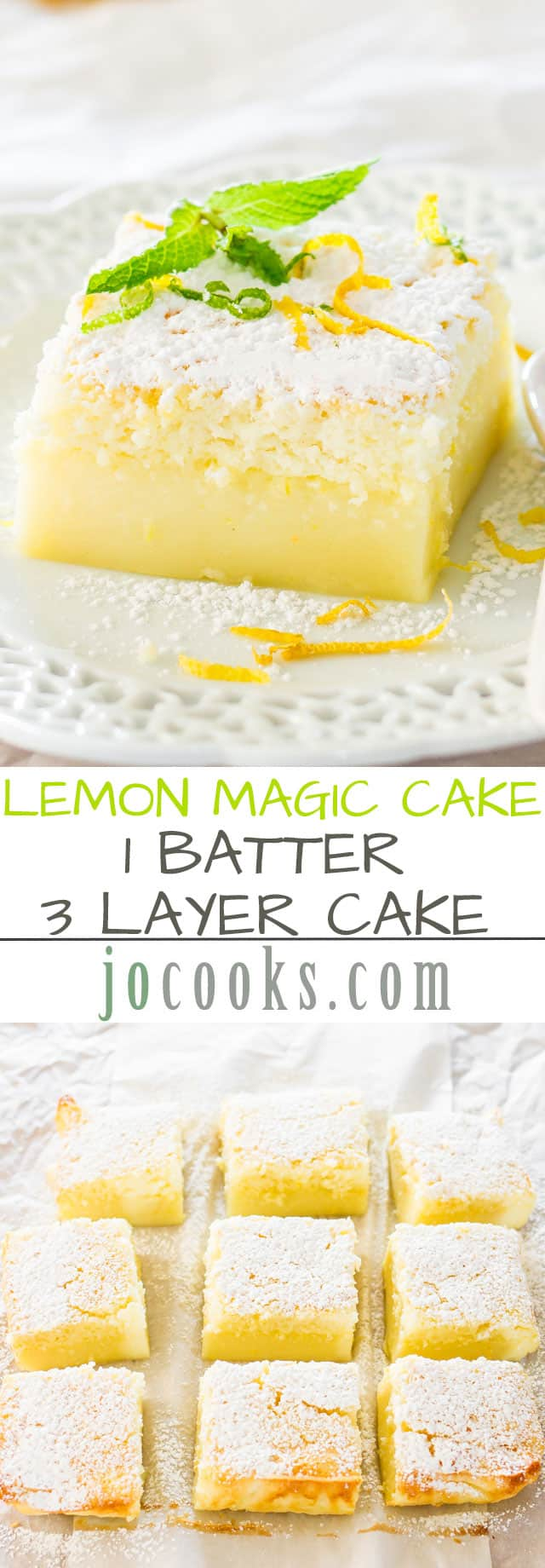 Lemon Magic Cake Recipe via Jo Cooks - one simple batter that turns into a 3 layer cake. Simply magical. The popular magic cake now in lemon flavor. The BEST Easy Lemon Desserts and Treats Recipes - Perfect For Easter, Mother's Day Brunch, Bridal or Baby Showers and Pretty Spring and Summer Holiday Party Refreshments! #lemondesserts #lemonrecipes #easylemonrecipes #lemon #lemontreats #easterdesserts #mothersdaydesserts #springdesserts #holidaydesserts #summerdesserts