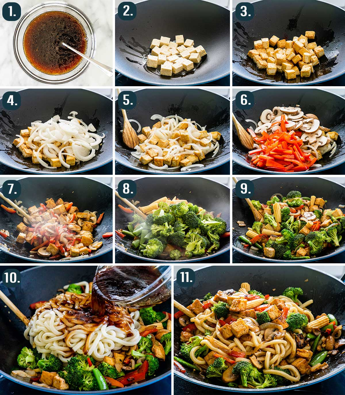detailed process shots showing how to make tofu drunken noodles