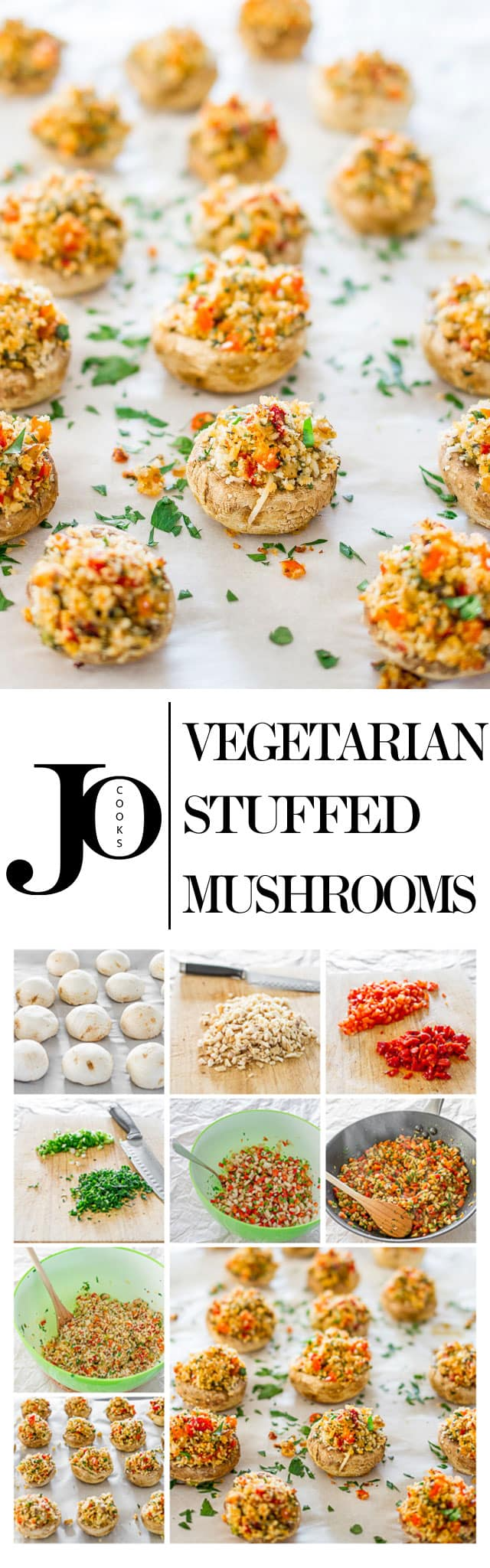 Vegetarian stuffed mushrooms made healthy by just stuffing them with onions, mushroom stems, roasted peppers and a bit of freshly grated Parmesan cheese.