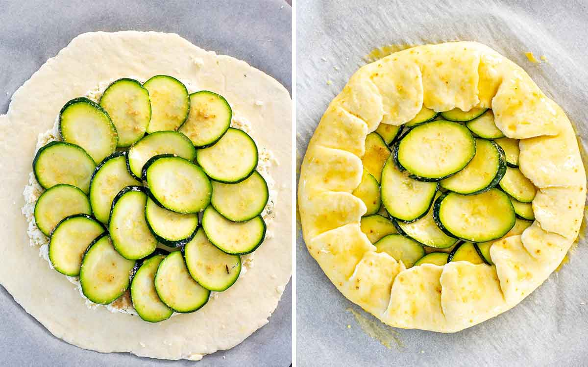 process shots showing how to assemble a galette