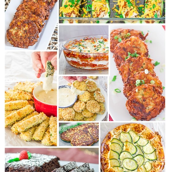 collage of zucchini recipes