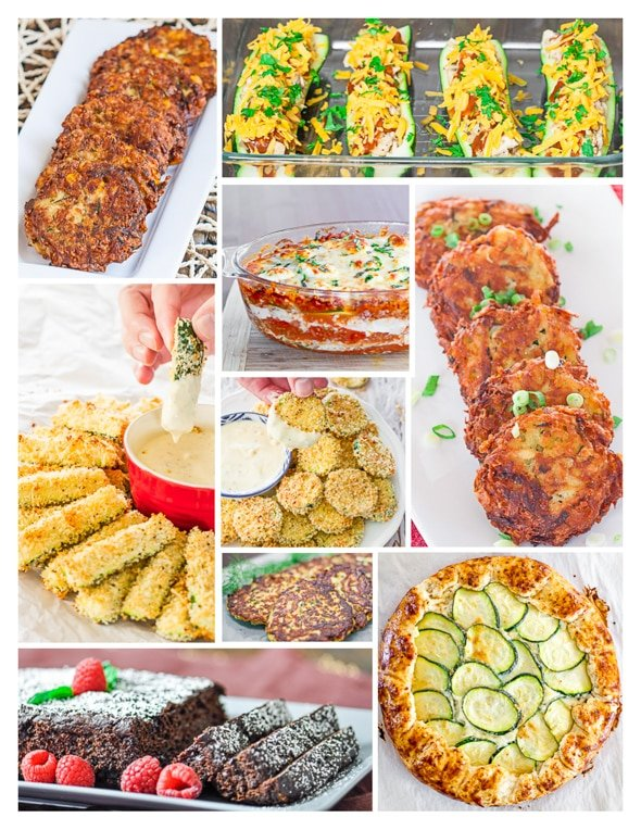 Photo collage of zucchini recipes