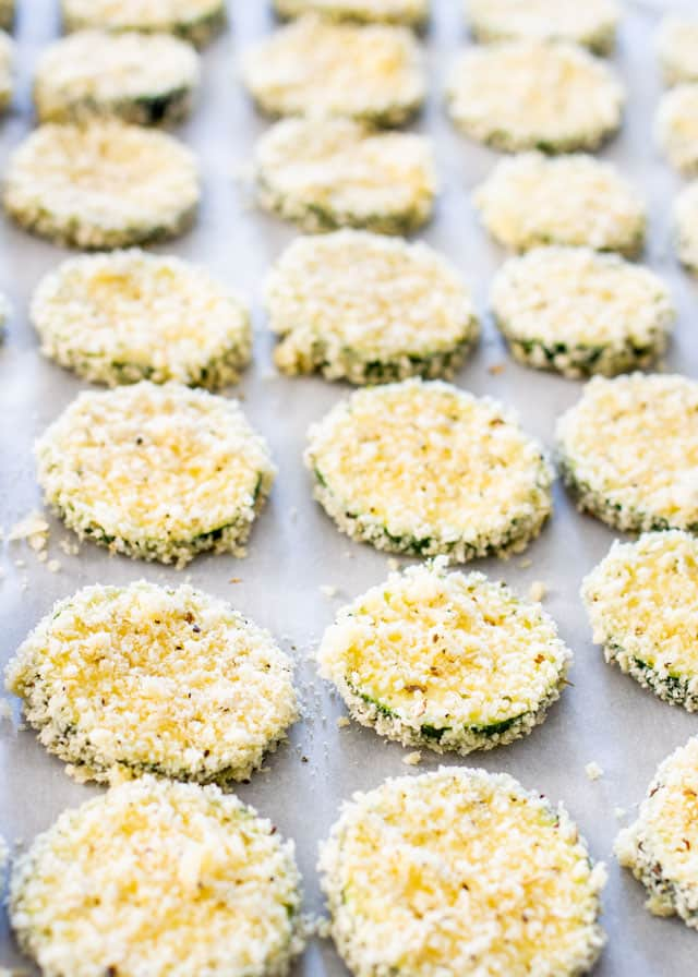 Parmesan Zucchini Crisps on a baking sheet ready to bake