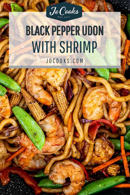 pin for black pepper udon noodles with shrimp.