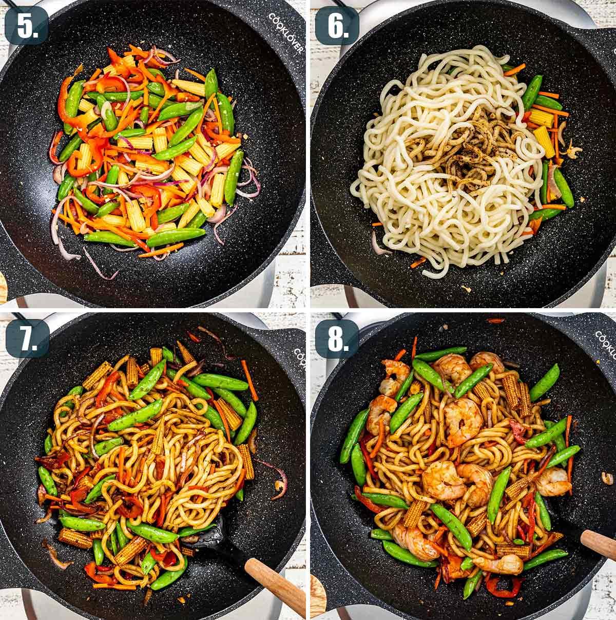 process shots showing how to make black pepper udon noodles with shrimp.